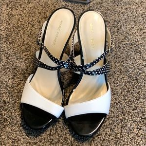 New Marc Fisher black and white heeled sandals